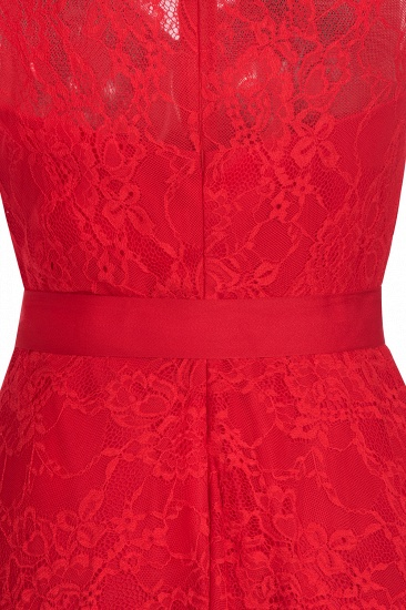 BMbridal A-line Sleeveless Burgundy Lace Dress with Bow_9