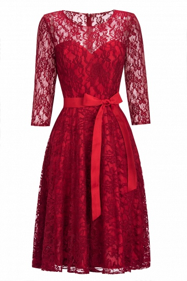 BMbridal Vintage A-line Burgundy Lace Dress with Sleeves_10