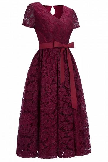 BMbridal Burgundy Short Sleeves Flower Lace V-neck Dress with Sash_5
