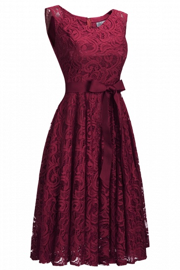 BMbridal Simple Sleeveless A-line Red Lace Dress with Ribbon Bow_4