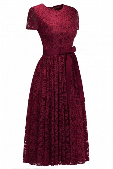BMbridal Short Sleeves Seath Red Lace Dress with Ribbon Bow_4