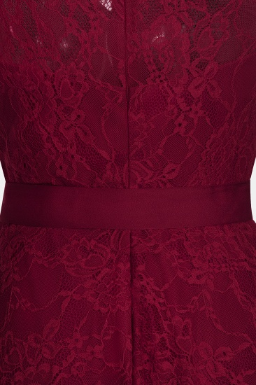 BMbridal A-line Sleeveless Burgundy Lace Dress with Bow_10