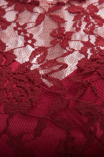 BMbridal Burgundy Lace Short Sleeves A-line Dress with Bow_8