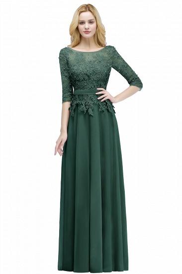 BMbridal A-line Floor Length Half Sleeves Appliques Bridesmaid Dress with Sash_5