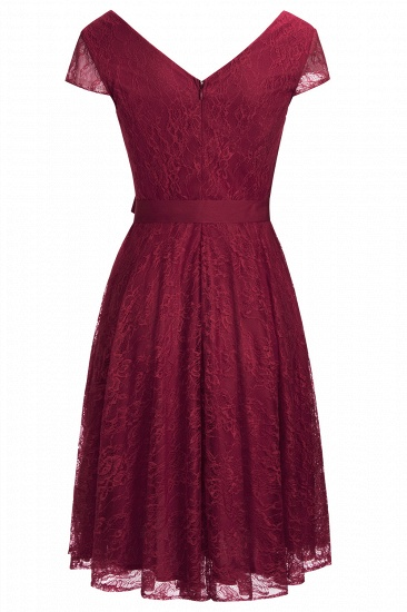 BMbridal A-line Shoet Sleeves V-neck Lace Dress with Bow Sash_10