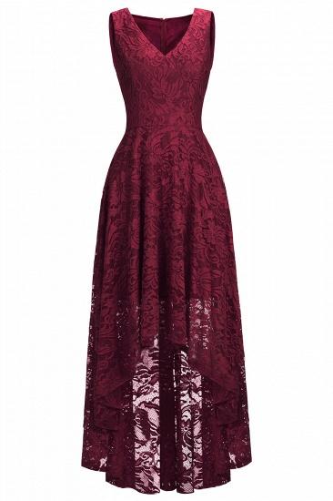 BMbridal A-line Hi-lo V-neck Sleeveless Burgundy Lace Dress_12