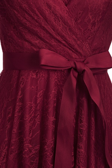 BMbridal A-line Shoet Sleeves V-neck Lace Dress with Bow Sash_8