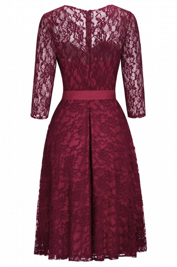 BMbridal Vintage A-line Burgundy Lace Dress with Sleeves_6