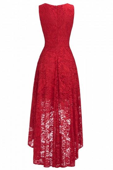 BMbridal A-line Hi-lo V-neck Sleeveless Burgundy Lace Dress_9