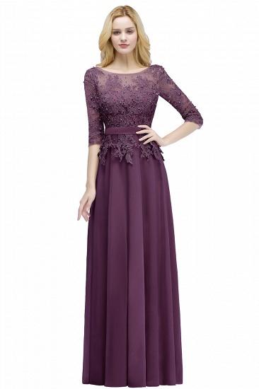 BMbridal A-line Floor Length Half Sleeves Appliques Bridesmaid Dress with Sash_3