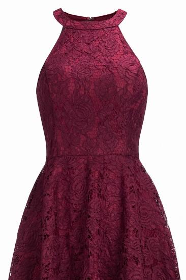 BMbridal Halter Sleeveless Sheath Asymmetrical Burgundy Lace Dress_9