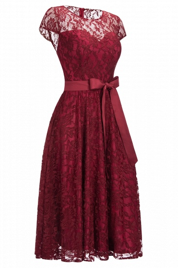 BMbridal Burgundy Lace Short Sleeves A-line Dress with Bow_6