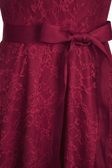 BMbridal A-line Sleeveless Burgundy Lace Dress with Bow_13