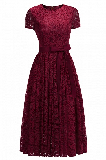 BMbridal Short Sleeves Seath Red Lace Dress with Ribbon Bow_3