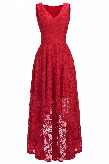 BMbridal A-line Hi-lo V-neck Sleeveless Burgundy Lace Dress_8