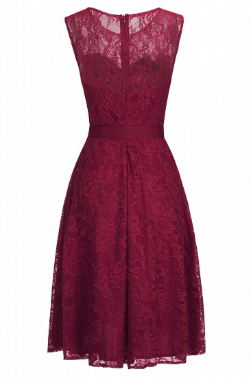 BMbridal A-line Sleeveless Burgundy Lace Dress with Bow_6