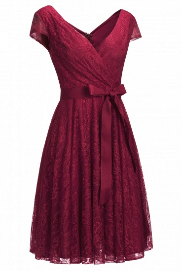 BMbridal A-line Shoet Sleeves V-neck Lace Dress with Bow Sash_2