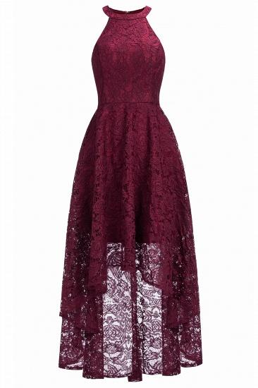 BMbridal Halter Sleeveless Sheath Asymmetrical Burgundy Lace Dress_2