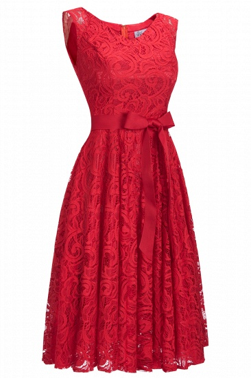 BMbridal Simple Sleeveless A-line Red Lace Dress with Ribbon Bow_8