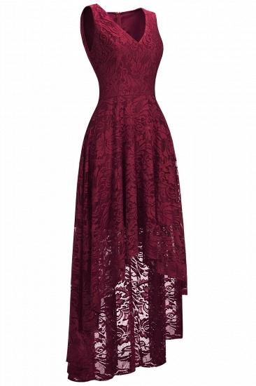 BMbridal A-line Hi-lo V-neck Sleeveless Burgundy Lace Dress_14