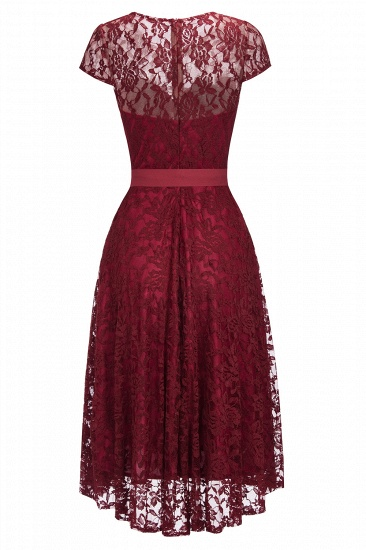 BMbridal Burgundy Lace Short Sleeves A-line Dress with Bow_5