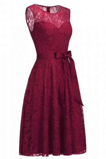 BMbridal A-line Sleeveless Burgundy Lace Dress with Bow_3