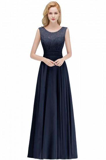 Elegant Lace Sleeveless Chiffon Long Bridesmaid Dress_5