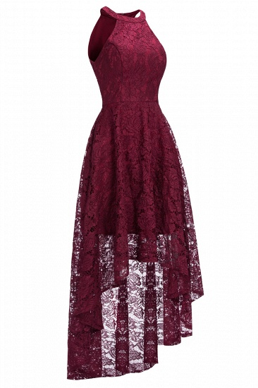 BMbridal Halter Sleeveless Sheath Asymmetrical Burgundy Lace Dress_7