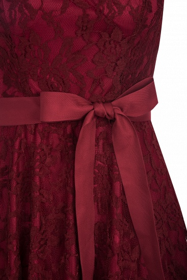 BMbridal Burgundy Lace Short Sleeves A-line Dress with Bow_7