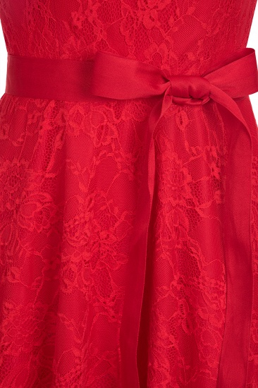 BMbridal A-line Sleeveless Burgundy Lace Dress with Bow_14