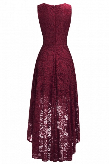 BMbridal A-line Hi-lo V-neck Sleeveless Burgundy Lace Dress_13