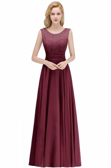 Elegant Lace Sleeveless Chiffon Long Bridesmaid Dress_4