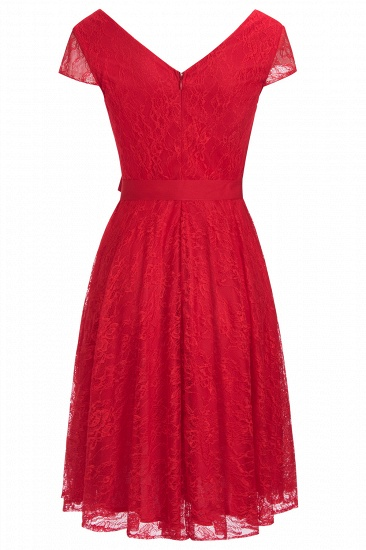 BMbridal A-line Shoet Sleeves V-neck Lace Dress with Bow Sash_6