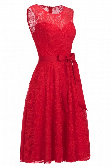 BMbridal A-line Sleeveless Burgundy Lace Dress with Bow_12