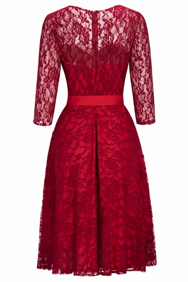 BMbridal Vintage A-line Burgundy Lace Dress with Sleeves_9
