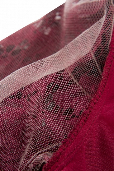 BMbridal Burgundy Short Sleeves Flower Lace V-neck Dress with Sash_8
