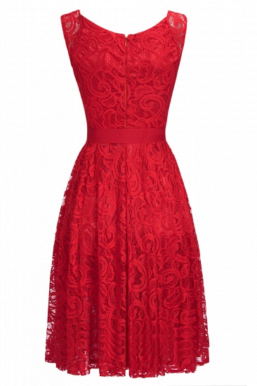 BMbridal Simple Sleeveless A-line Red Lace Dress with Ribbon Bow_7