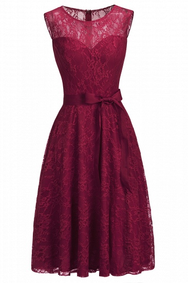 BMbridal A-line Sleeveless Burgundy Lace Dress with Bow_11