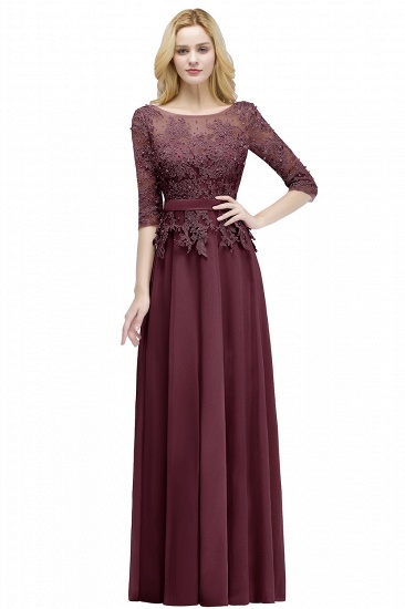 BMbridal A-line Floor Length Half Sleeves Appliques Bridesmaid Dress with Sash_2