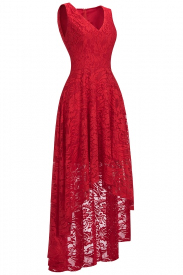 BMbridal A-line Hi-lo V-neck Sleeveless Burgundy Lace Dress_10