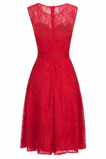 BMbridal A-line Sleeveless Burgundy Lace Dress with Bow_2
