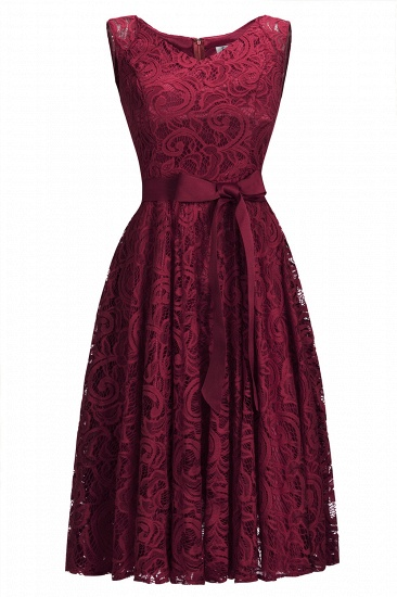 BMbridal Simple Sleeveless A-line Red Lace Dress with Ribbon Bow_2