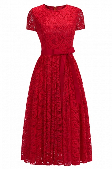 BMbridal Short Sleeves Seath Red Lace Dress with Ribbon Bow_1