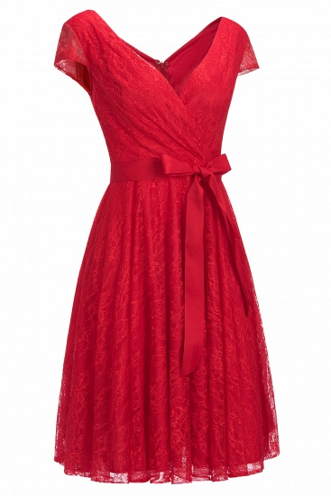 BMbridal A-line Shoet Sleeves V-neck Lace Dress with Bow Sash_5