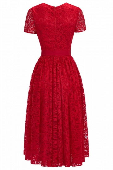 BMbridal Short Sleeves Seath Red Lace Dress with Ribbon Bow_8