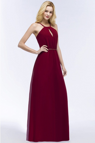 Burgundy Spaghetti Straps Long Bridesmaid Dress with Beading Sash_6