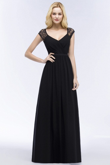 Elegant Lace Black V-Neck Sleeveless Bridesmaid Dress with Hollowout Back_1