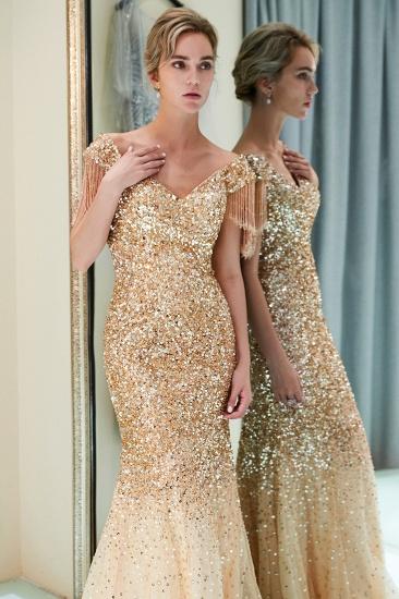 Elegant Mermaid Off-the-shoulder Prom Dresses V-neck Sequins Long Evening Dresses_16