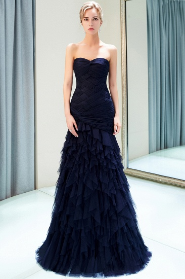 BMbridal Elegant Mermaid Sweetheart Strapless Prom Dresses Draped Tulle Long Evening Dresses On Sale_4