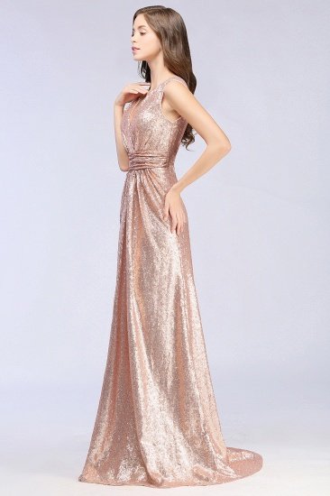 Sparkly Sequined V-Neck Sleeveless Bridesmaid Dress Online_3